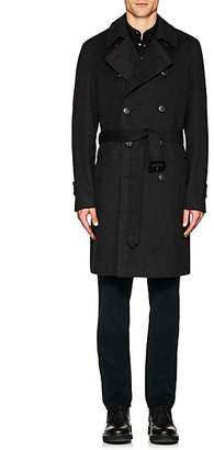 Barneys New York Men's Wool Double-Breasted Topcoat - Charcoal