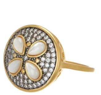 Freida Rothman 14K Gold & Rhodium Plated Sterling Silver CZ Fleur Bloom Petite Petal Ring - Size 6