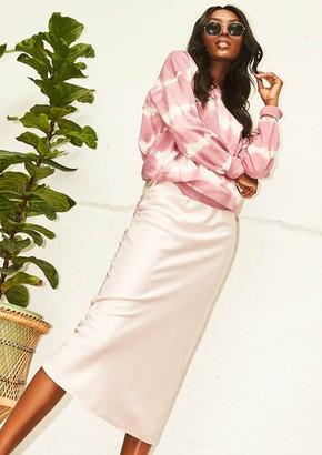 318ed8b38222b4 Missy Empire Missyempire Maeve Pink Satin Feel Midi Skirt