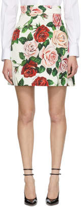 Dolce & Gabbana Multicolor Brocade Peony Miniskirt