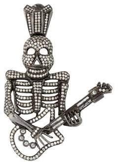 18K Diamond Skull With Guitar Pendant
