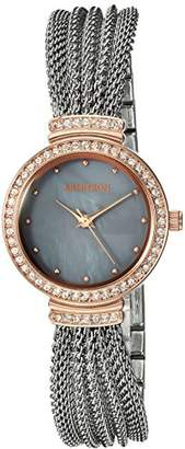 Swarovski Armitron Women's 75/5526GMTR Crystal Accented Rose Gold-Tone and Silver-Tone Mesh Bracelet Watch
