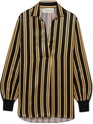 Mourci Striped Satin Shirt - Black