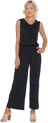 Joan Rivers Classics Collection Joan Rivers Sleeveless Jersey Petite Ankle Jumpsuit w/ Ruffle