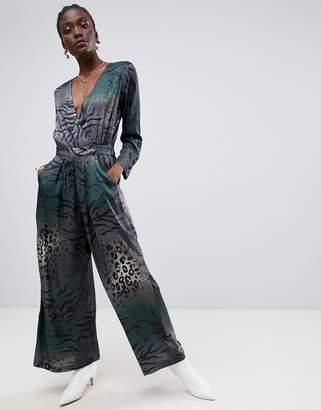 Gestuz Cristal long sleeve jumpsuit in mixed animal print