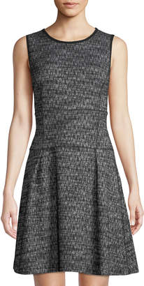 Three Dots Tweed Knit Sleeveless Fit-&-Flare Dress