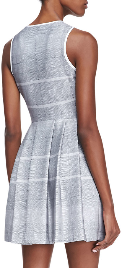 Autograph Addison Dara Fit-and-Flare Dress, White/Black (Stylist Pick!)