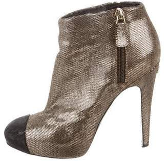Chanel CC Metallic Cap-Toe Booties
