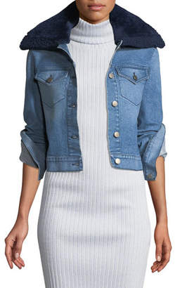 Brandon Maxwell Button-Front Denim Jacket w/ Shearling Fur Collar