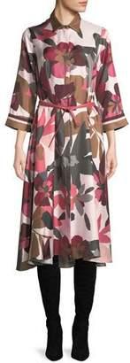Loro Piana Button-Front Long-Sleeve Floral-Print Silk Shirtdress