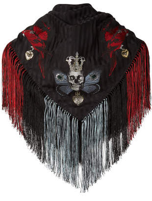 Alexander McQueen Fringed Printed Silk-blend Jacquard Scarf - Black