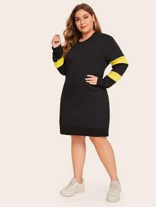 Shein Plus Colorblock Midi Sweatshirt Dress