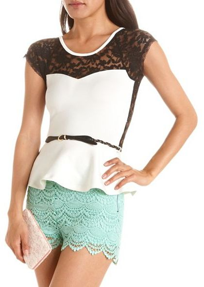 Charlotte Russe Belted Lace Inset Peplum Top