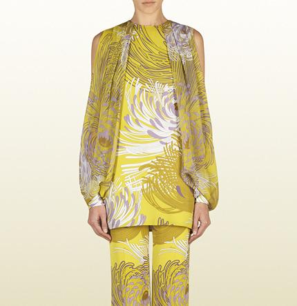 Gucci Yellow Dahlia Print Silk Georgette Tunic Top