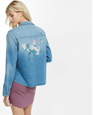 Express floral embroidered denim jacket $108 thestylecure.com