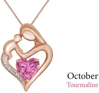 Jewel Zone US Simulated Tourmaline & White Natural Diamond Accent Mother & Child Heart Pendant in 14k Rose Gold Over Sterling Silver (11/10 Cttw)