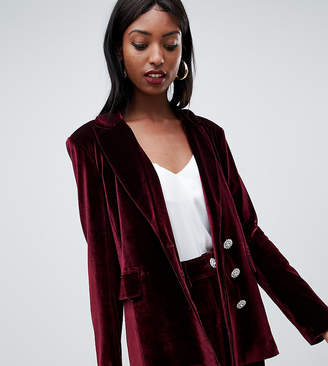 Fashion Union Tall tall longline blazer in velvet with rhinestone buttons