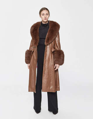 Saks Potts Foxy Leather Coat in Walnut