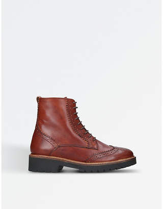 Carvela Ladies Tan Practical Snail Leather Ankle Boots