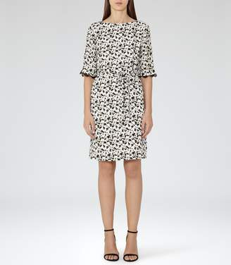 Reiss Noemie - Printed Dress in Olive/Off White