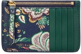 Tory Burch FLORAL TOP-ZIP CARD CASE