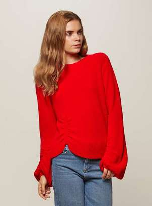 Miss Selfridge Red balloon sleeve knitted jumper