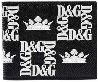 Dolce & Gabbana black crown logo-print leather billfold wallet