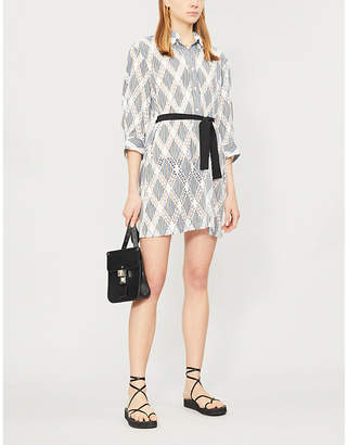 Sandro Striped woven and lace shirt dress