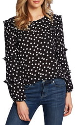 CeCe Galactic Dot Tiered Ruffle Sleeve Blouse