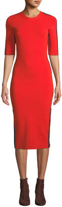 Veronica Beard Audrie 3/4-Sleeve Jersey Midi Dress with Racer Stripes