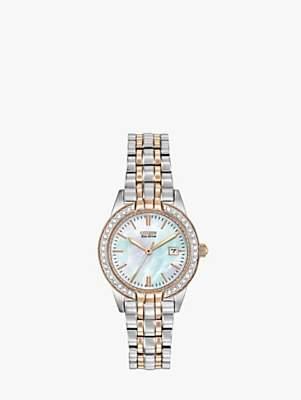 Citizen EW1686-59P Women's Eco-Drive Silhouette Crystal Bracelet Strap Watch, Silver/Gold