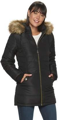 Details Women's Faux-Fur Trimmed Hooded Puffer Coat