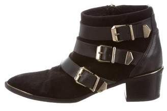 The Kooples Pointed-Toe Buckle Ankle Boots