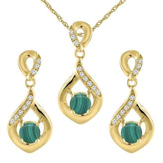 Sabrina Silver 14K Yellow Gold Natural Malachite Earrings and Pendant Set with Diamond Accents Round 4 mm