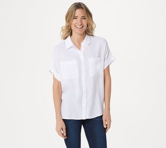 Side Stitch Tencera Button Front Short-Sleeve Top