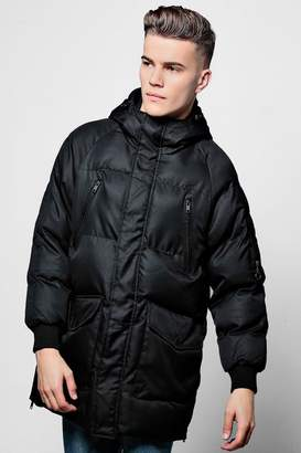 boohoo Black Quilted Jacket With Technical Zip