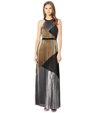 BCBGMAXAZRIA Metallic Color Block Pleated Gown