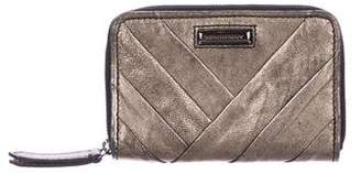 Burberry Metallic Leather Zip-Around Wallet