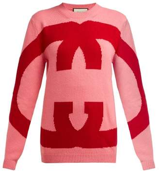 Gucci Oversized Logo Intarsia Wool Sweater - Womens - Pink Multi