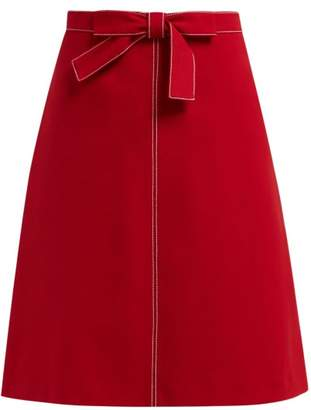 RED Valentino Knotted High Rise Crepe Midi Skirt - Womens - Red