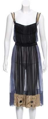 Alberta Ferretti Silk Sleeve-less Dress