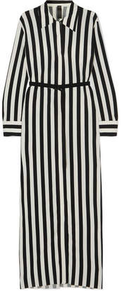 Norma Kamali Belted Striped Stretch-jersey Maxi Dress - Black