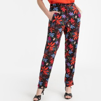 Anne Weyburn Floral Print Slim Fit Trousers, Length 30.5""