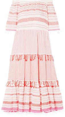 Lemlem Tiki Off-the-shoulder Embroidered Cotton-blend Gauze Midi Dress