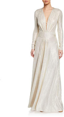 Melissa Odabash Pleated Metallic Long-Sleeve Coverup Dress
