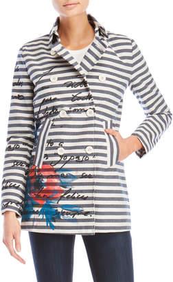 Desigual Printed Stripe Coat