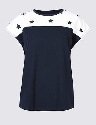 Marks and Spencer Pure Cotton Star Print Short Sleeve T-Shirt