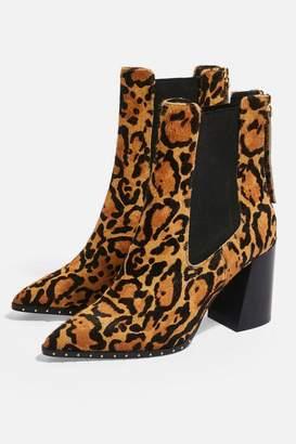 Topshop HARRISON Leopard High Heel Ankle Boots