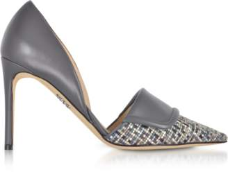 Rodo Leather and Tweed High Heel Pumps