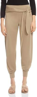 Halston Belted Side-Slit Jogger-Style Pants